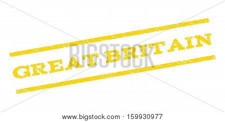 Great Britain watermark stamp. Text caption between parallel lines with grunge design style. Rubber seal stamp with scratched texture. Vector yellow color ink imprint on a white background.