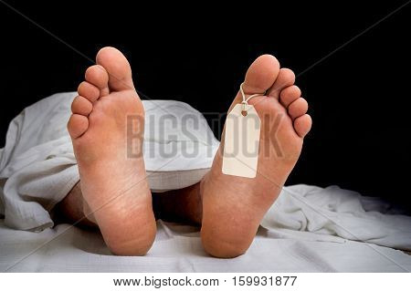 The Dead Man's Body With Blank Tag On Feet Under White Cloth