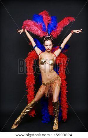 cabaret dancer over dark background poster