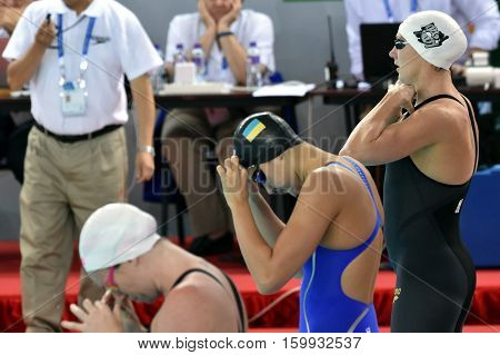 Hong Kong China - Oct 29 2016. Katinka HOSSZU (HUN) ZEVINA Daryna (UKR) and Emily SEEBOHM (AUS) before the Women's Backstroke 50m Final. FINA Swimming World Cup Victoria Park Swimming Pool.