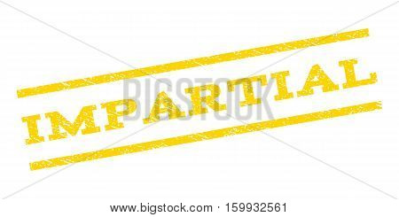 Impartial watermark stamp. Text caption between parallel lines with grunge design style. Rubber seal stamp with dust texture. Vector yellow color ink imprint on a white background.