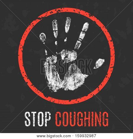 Conceptual vector illustration. Human diseases. Stop coughing.