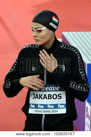 Hong Kong China - Oct 29 2016. Hungarian swimmer Zsuzsanna JAKABOS (HUN) before the Women's Individual Medley 200m Final. FINA Swimming World Cup Victoria Park Swimming Pool.