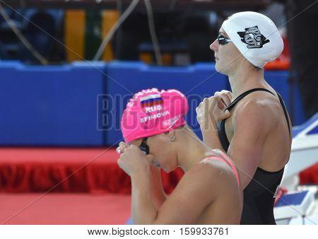 Hong Kong China - Oct 29 2016. Katinka HOSSZU (HUN) and Yulia YEFIMOVA (RUS) at the start in Women's Individual Medley 200m Final. FINA Swimming World Cup.
