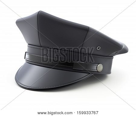 Black retro chauffeur hat on white background - 3D illustration