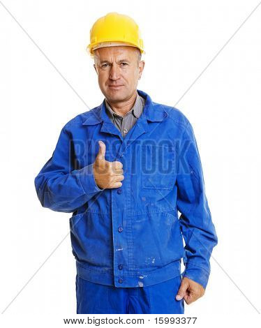 handsome senior worker showing thumbs up. isolated on white background