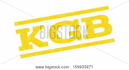 KGB watermark stamp. Text caption between parallel lines with grunge design style. Rubber seal stamp with unclean texture. Vector yellow color ink imprint on a white background.