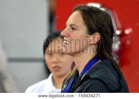 Hong Kong China - Oct 29 2016. Competitive swimmer SEEBOHM Emily (AUS) at the Victory Ceremony of the Women's Backstroke 50m. FINA Swimming World Cup Victoria Park Swimming Pool.