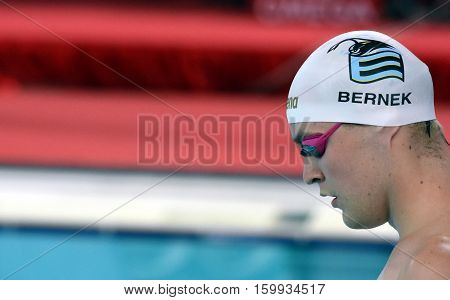 Hong Kong China - Oct 29 2016. Olympian and World Youth gold medalist Peter BERNEK (HUN) at the start of Men's Freestyle 200m Final. FINA Swimming World Cup Victoria Park Swimming Pool.