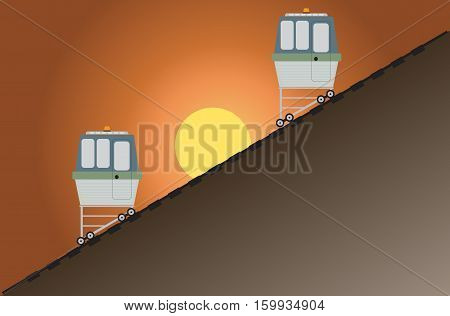 Funicular or cliff rail way with hill background Vector Illustration