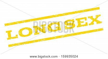 Long Sex watermark stamp. Text caption between parallel lines with grunge design style. Rubber seal stamp with dust texture. Vector yellow color ink imprint on a white background.