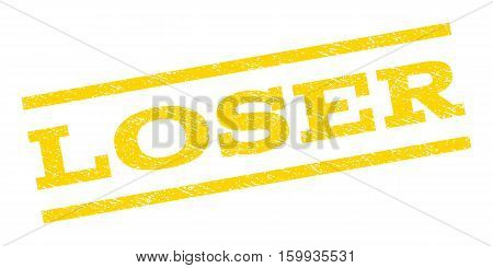 Loser watermark stamp. Text tag between parallel lines with grunge design style. Rubber seal stamp with unclean texture. Vector yellow color ink imprint on a white background.