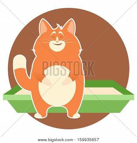 Vector image of the cat which is very glad about its litter