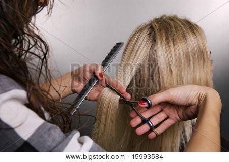 hairdresser at work over grey background
