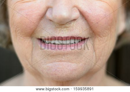 Closeup On The Mouth Of A Senior Woman