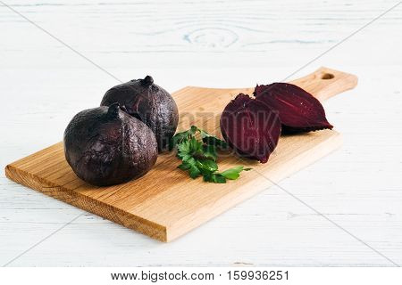 Boiled Beets With Parsley On Board