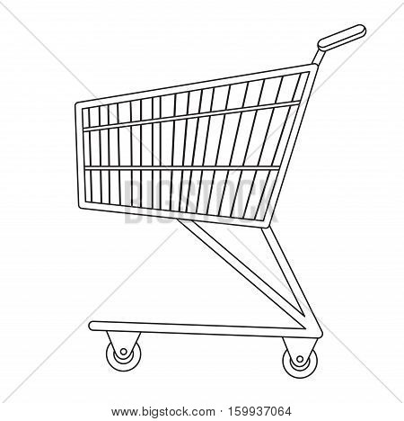 Shopping carts icon, line, sketch, doodle style. Metal shopping trolley, for purchases in a supermarket isolated on white background. Symbol, sign. Vector illustration