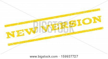New Version watermark stamp. Text caption between parallel lines with grunge design style. Rubber seal stamp with dust texture. Vector yellow color ink imprint on a white background.