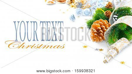 Christmas and New Year Blue color Decoration isolated on white background. Border art design with holiday baubles. Beautiful Christmas tree closeup decorated with Ball, tinsel and ribbon. Copy space