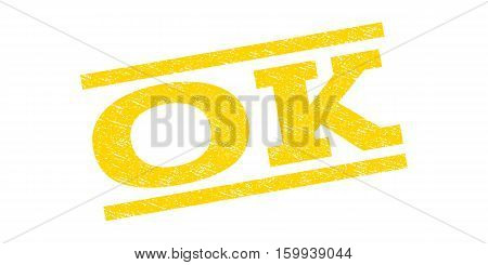 Ok watermark stamp. Text tag between parallel lines with grunge design style. Rubber seal stamp with dirty texture. Vector yellow color ink imprint on a white background.