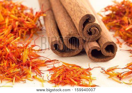 Sticks Of Cinnamon And Saffron Close-up