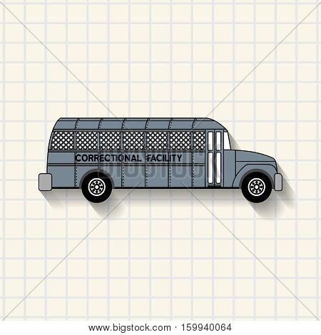 Correctional facility prison bus on mathematical squares paper