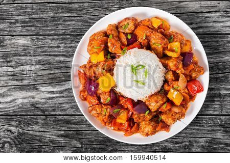 Rice With Sweet And Sour Fried Pork Chunks