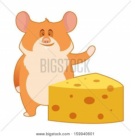 Vector image of the flat Hamster and a Piece of Cheese