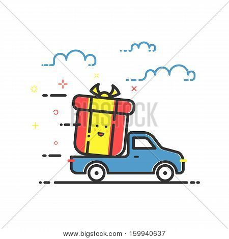 Vector illustration of icon shopping concept delivery service in in flat line style. Colored motion truck with gift or bounty. Design for banner, web page and mobile app. Outline object e-commerce.