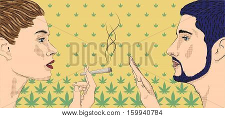 Woman smoking smoke weed cannabis marijuana rolled cigarette men ban prohibit against narcotic drugs profile silhouette vector horizontal sign close-up side view illustration background