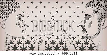 Woman smoking smoke weed cannabis marijuana rolled cigarette men ban prohibit against narcotic drugs profile lifestyle vector horizontal sign close-up side view illustration background
