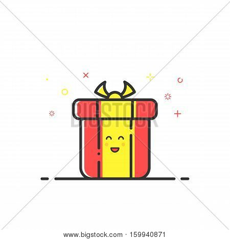 Vector illustration of icon shopping concept delivery service in in flat line style. Colored gift or bounty. Design for banner, web page and mobile app. Outline object e-commerce.
