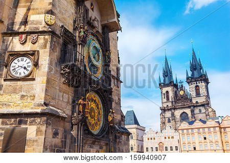 Old Town City Hall in Prague and Tyn Cathedral in the background, view from Old Town Square, Czech Republic