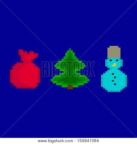 New Year's pixel set. Gifts, snowman, fir-tree