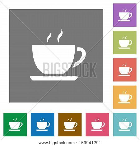 Coffee flat icons on simple color square background.