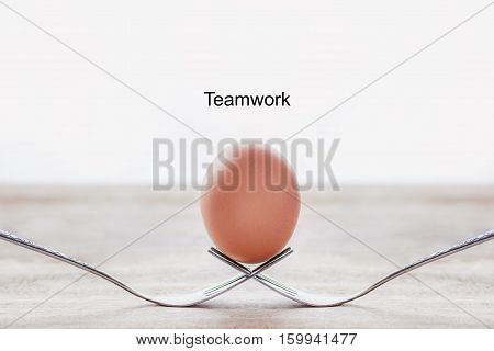 Egg on the fork with text teamwork business concept.