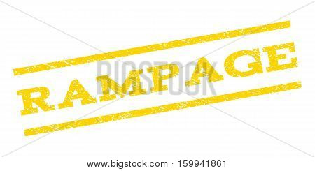 Rampage watermark stamp. Text caption between parallel lines with grunge design style. Rubber seal stamp with dust texture. Vector yellow color ink imprint on a white background.