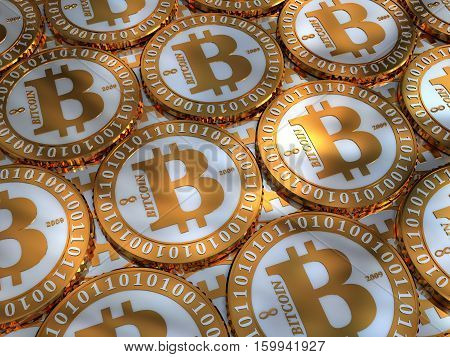 Bitcoin coins - virtual digital crypto-currency. Accurately stacked coins, closeup, background, 3D illustration.