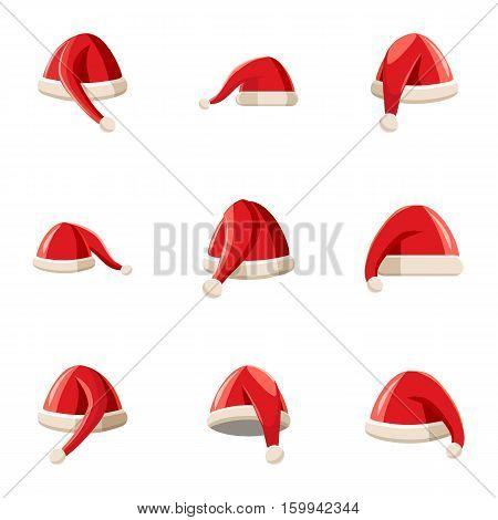 Wizard Santa Claus hat icons set. Cartoon illustration of 9 wizard Santa Claus hat vector icons for web