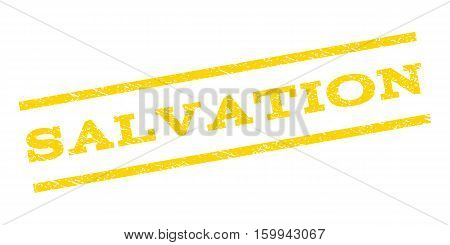 Salvation watermark stamp. Text caption between parallel lines with grunge design style. Rubber seal stamp with dirty texture. Vector yellow color ink imprint on a white background.