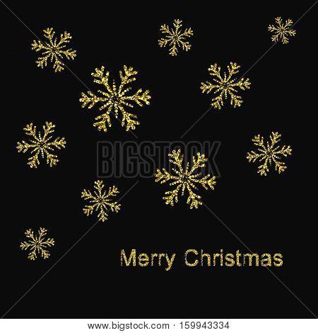 Elegant Christmas Background with Shining Gold Snowflakes. Vector illustration eps10