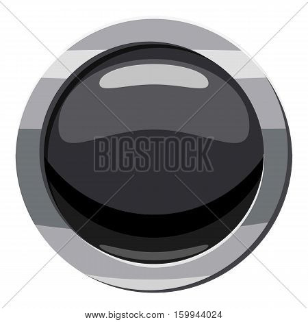 Round black button icon. Cartoon illustration of round black button vector icon for web