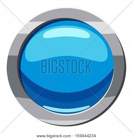 Circle blue button icon. Cartoon illustration of circle blue button vector icon for web