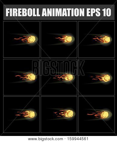 vector fireball animation. Sprite sheet for game or cartoon. Bonfire.