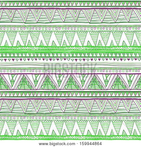 Colorful Fabric Ikat Diamond Seamless Pattern Background Vector Ethnic Seamless Green
