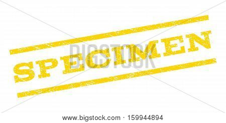 Specimen watermark stamp. Text caption between parallel lines with grunge design style. Rubber seal stamp with dust texture. Vector yellow color ink imprint on a white background.