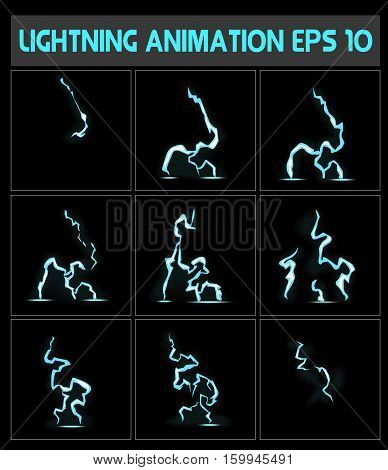 Weblightning animation. A lightning strike to the ground or something else. Game animation.
