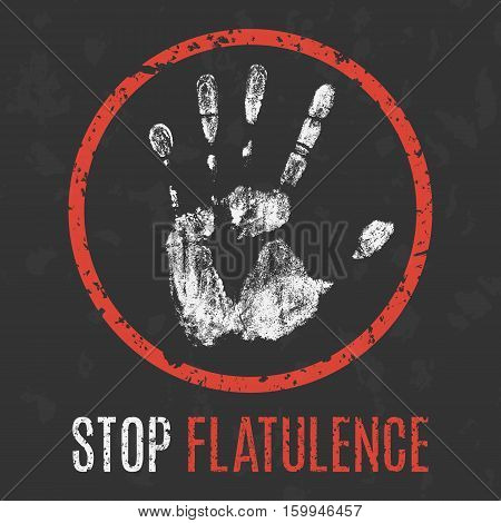 Conceptual vector illustration. Human diseases. Stop flatulence.
