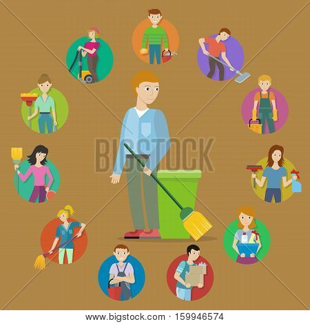 Cleaning service. Collection of male and female member of the cleaning service staff with cleaning equipment. Workers of cleaning company. Housekeeping banner. Office and hotel cleaning. Vector