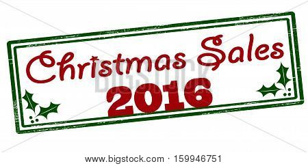 Stamp with text Christmas sales inside vector illustration